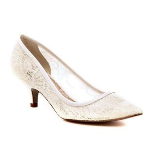 Adrianna Papell Ivory Lace Slip-On Pumps